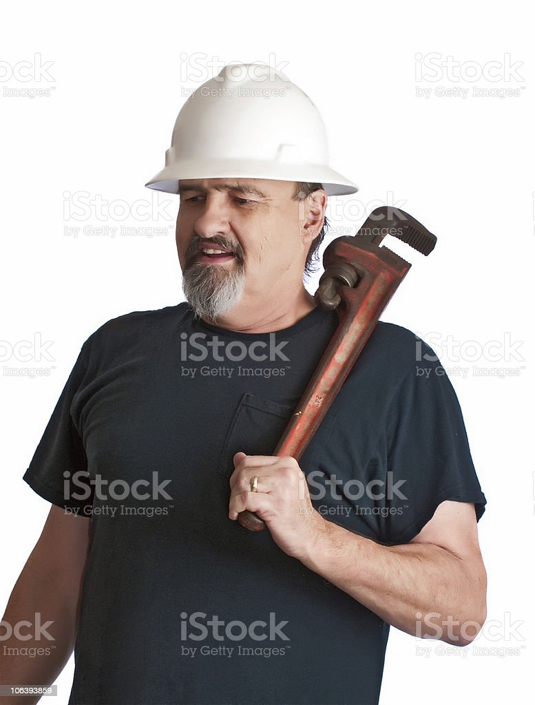 Plumber going to the work-site. royalty-free stock photo