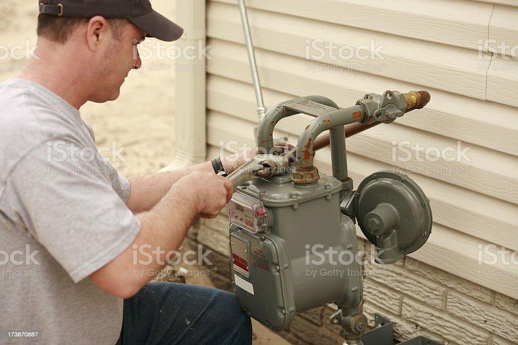 Plumber Repairing Water Pipe stock photo