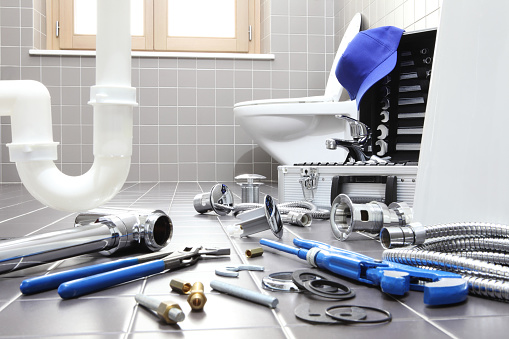 istock plumber tools and equipment in a bathroom, plumbing repair service, assemble and install concept 944254364