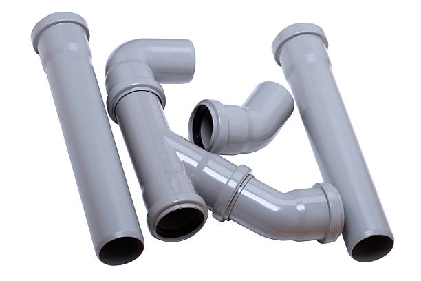Plumber tubes on white Plumber tubes for water isolated on a white background pvc stock pictures, royalty-free photos & images