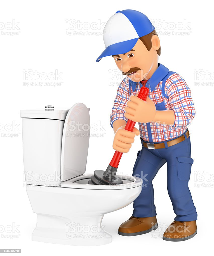 3d Plumber Unclogging Toilet With A Plunger Stock Photo & More ...