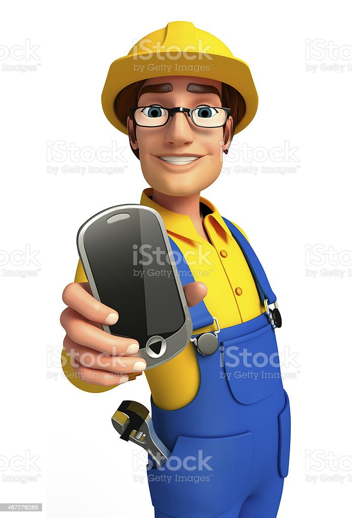 Plumber with mobile royalty-free stock photo