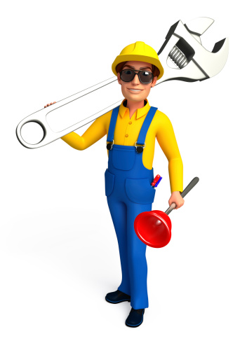 istock Plumber with wrench and toilet plunger 465295769