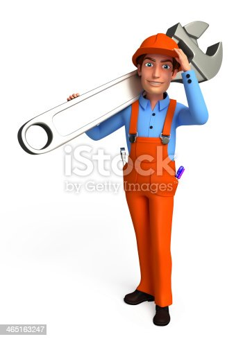 istock Plumber with wrench 465163247