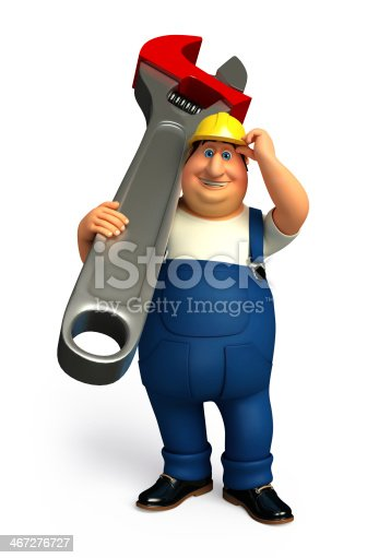 istock Plumber with wrench 467276727