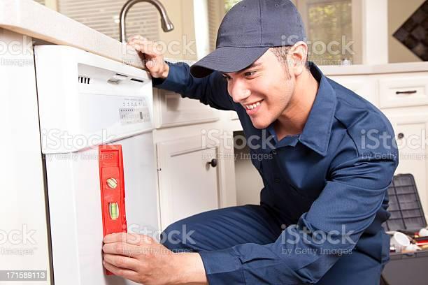 Plumber working on dishwasher in domestic kitchen picture id171589113?b=1&k=6&m=171589113&s=612x612&h=s7q1qln95stadq5lqikntdkhyyfanjqeshvldk0quny=