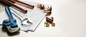 istock Plumbers Tools and Plumbing Materials Banner with Copy Space 625280930