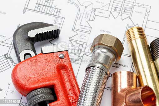Group of plumber's tools. Ideal for website or promotional mailer.