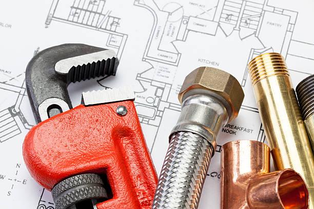 plumber's tools - water pipes bildbanksfoton och bilder