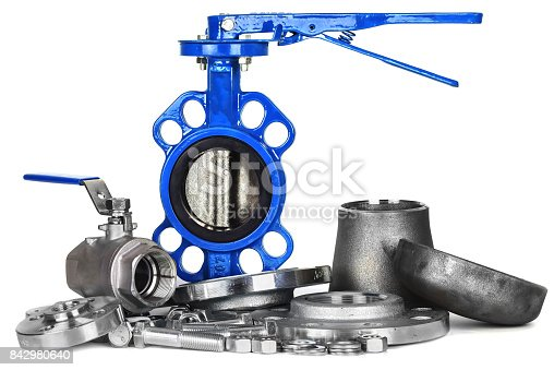 istock Plumbing accesories, faucet, butterfly gate, valves  flanges, nut and bolts 842980640