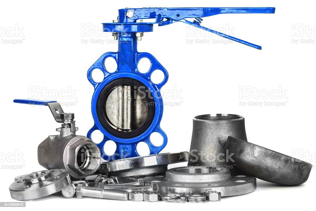 Plumbing accesories, faucet, butterfly gate, valves  flanges, nut and bolts stock photo