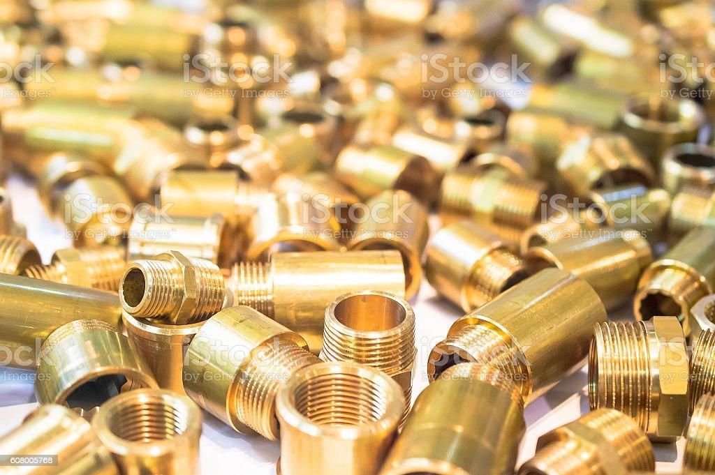 Plumbing adapters close up texture stock photo