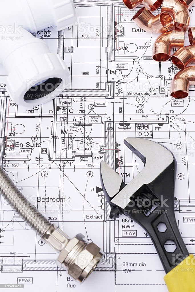 Plumbing Components On House Plans royalty-free stock photo