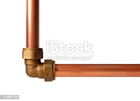 Copper pipe with joint isolated on white