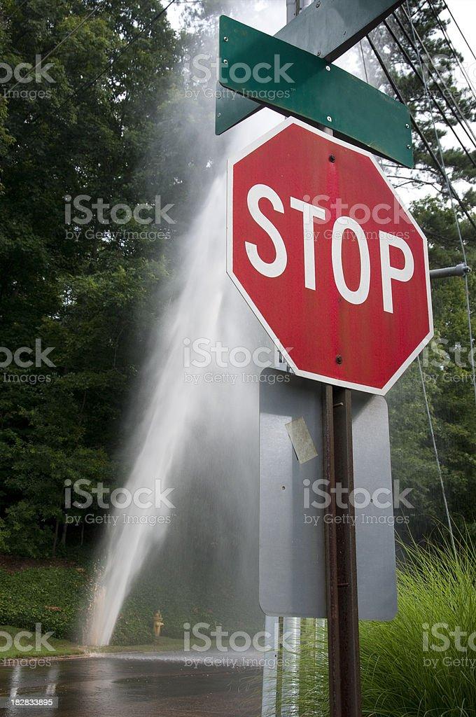 Plumbing Emergency: Stop the Water Main Break stock photo