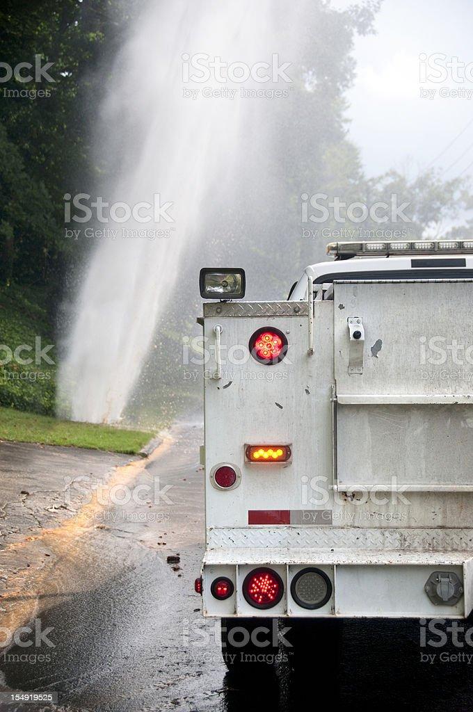Plumbing Emergency Vehicle at Water Pipe Break Location stock photo