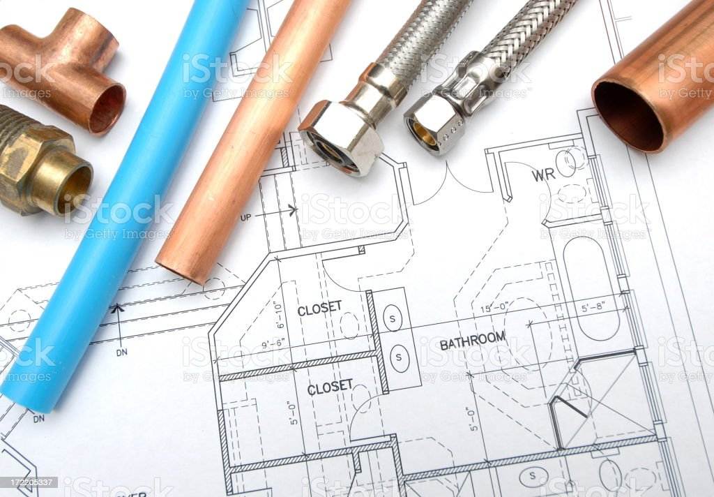 Plumbing pipes and joins on top of house schematic stock photo