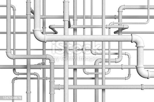 White plumbing pipes on white background 3d illustration