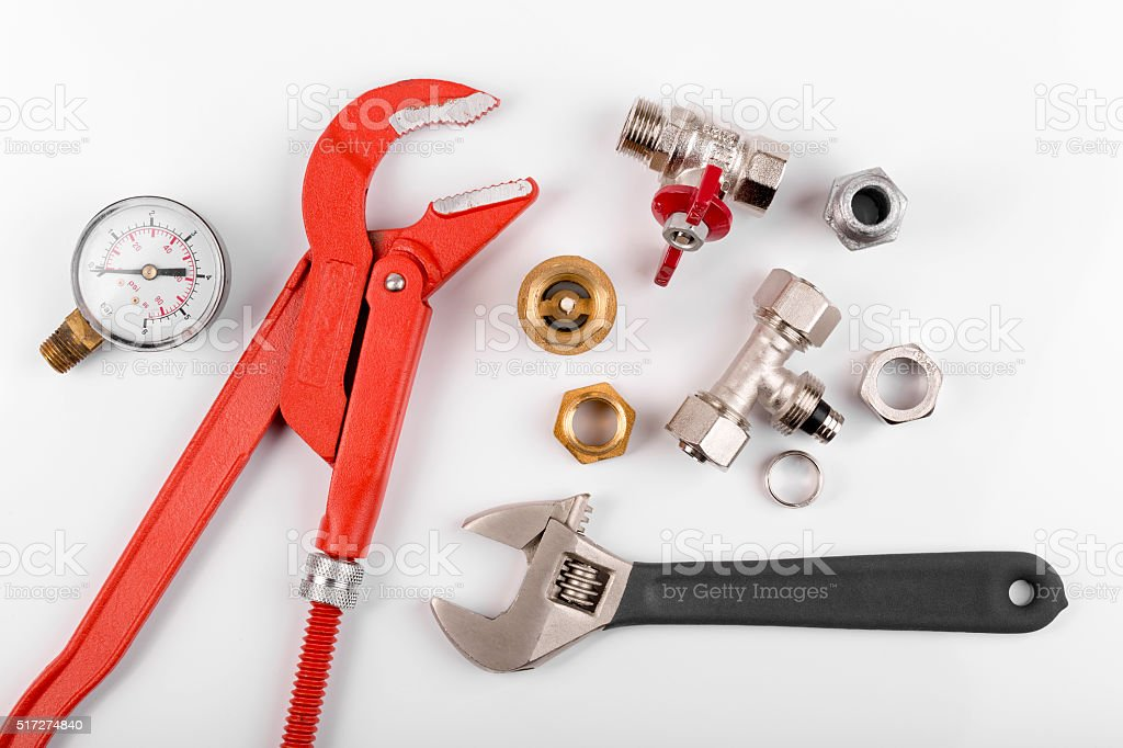 plumbing tools and equimpent isolated on white stock photo