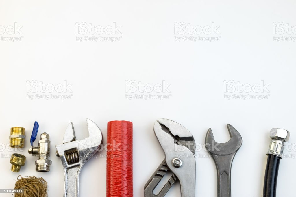 plumbing tools and equipment top view stock photo