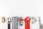 istock plumbing tools and equipment with copy space 537369566