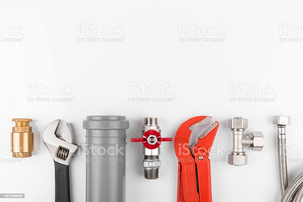 plumbing tools and equipment with copy space stock photo