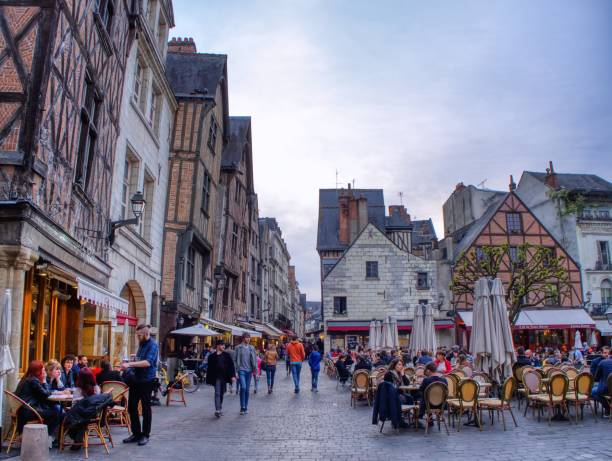 Plumereau square in medieval city of Tours. stock photo