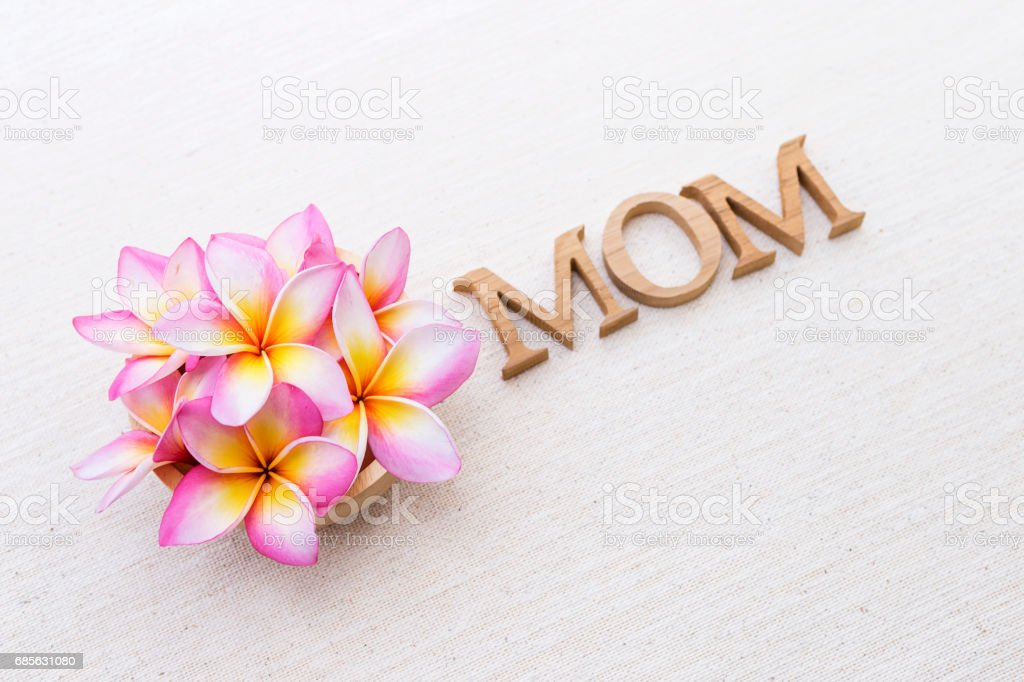 キャンバスの背景にプルメリアの花とお母さん木製本文 ロイヤリティフリーストックフォト