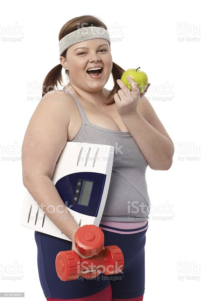 Plump woman dieting royalty-free stock photo