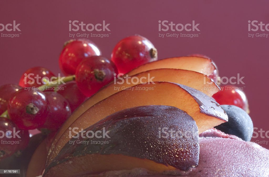 Plums and Redcurrants royalty-free stock photo