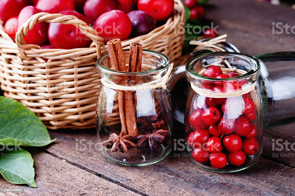 Plums in a basket and rowanberry royalty-free stock photo