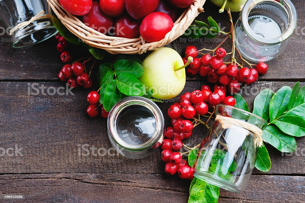 Plums in a basket, apples, rowanberry and glass jars Lizenzfreies stock-foto