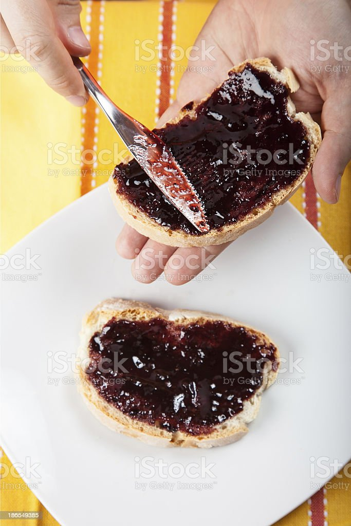 plums marmalade on bread royalty-free stock photo