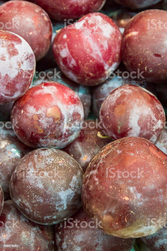 Plums on the market on the counter stock photo