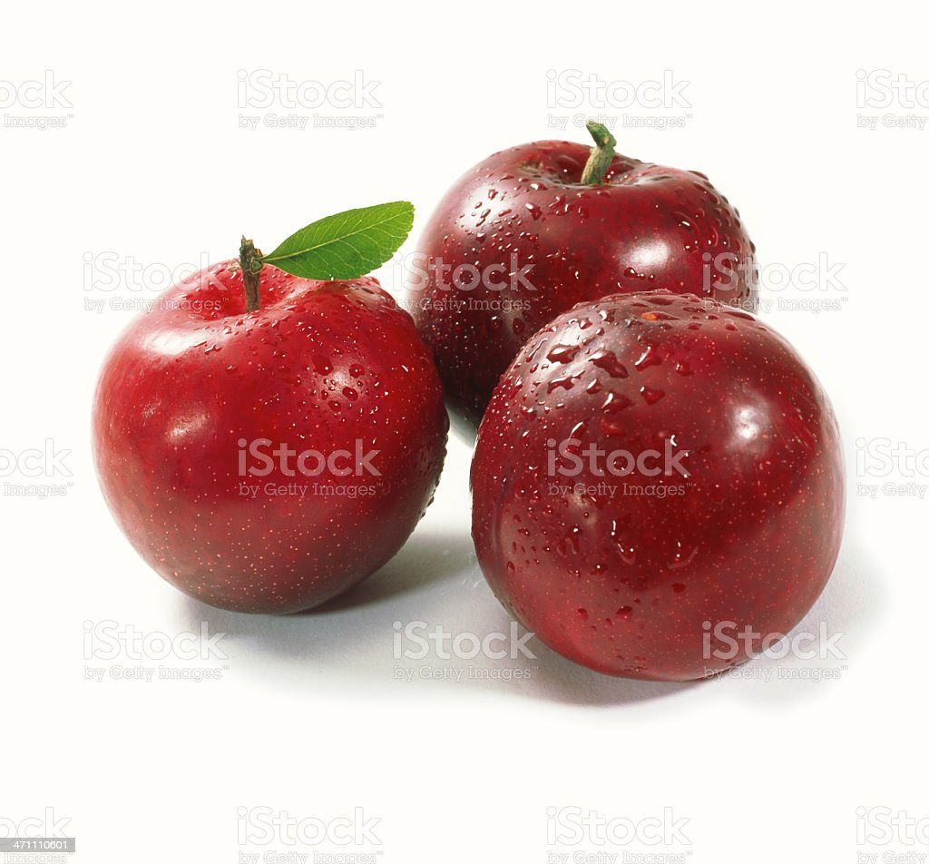 Plums trio with Leaf royalty-free stock photo