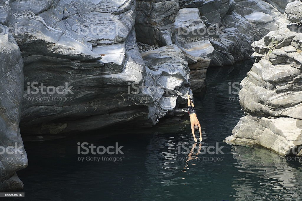 plunge into the river royalty-free stock photo