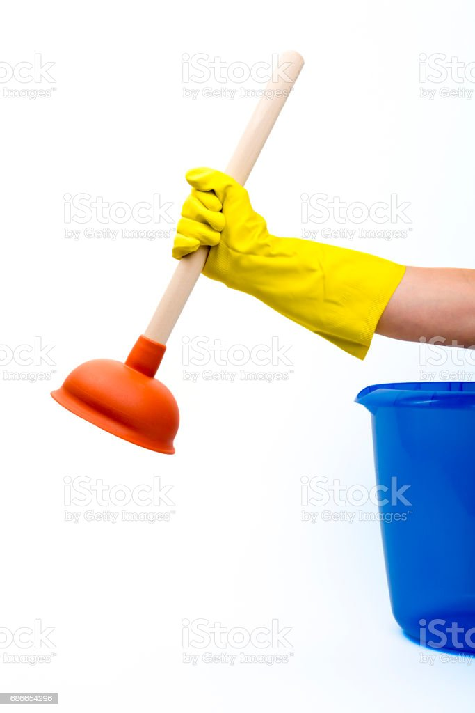 plunger in hand royalty-free stock photo