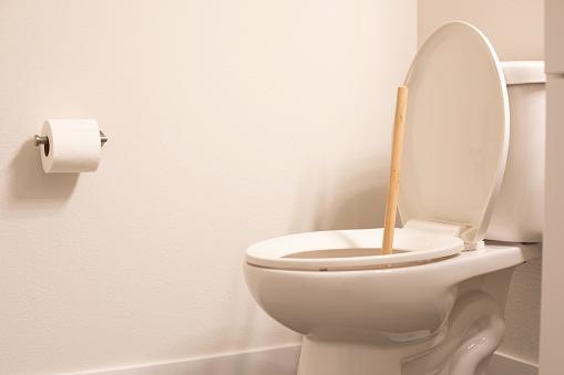 Toilet plunger in a bathroom , restroom, or washroom