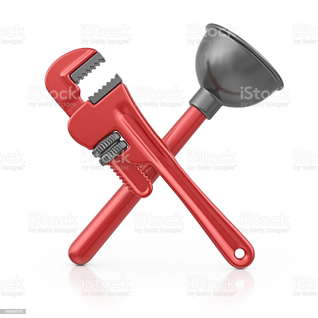 plunger with wrench stock photo