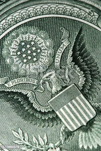 The reverse of a U.S. one dollar bill.