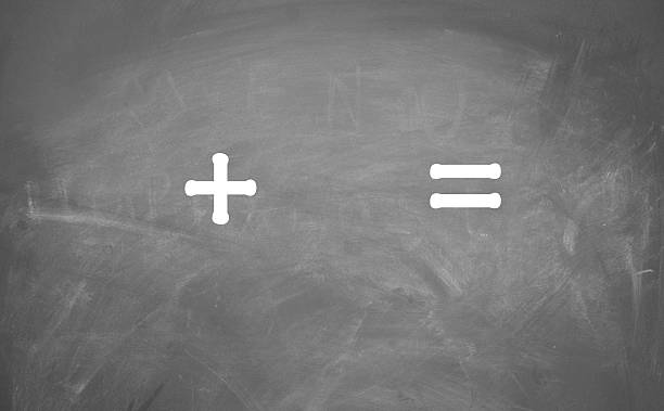 Plus and equal sign written on a chalkboard math sign minus sign stock pictures, royalty-free photos & images