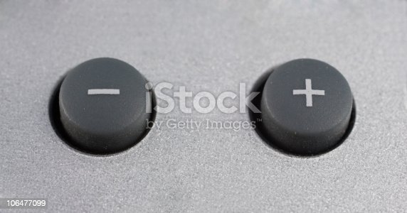 plus and minus buttons on a surface