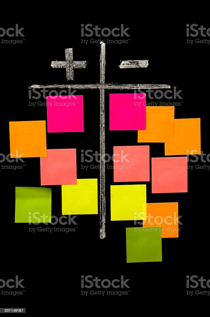 plus and minus on the chalkboard with color sticky notes stock photo
