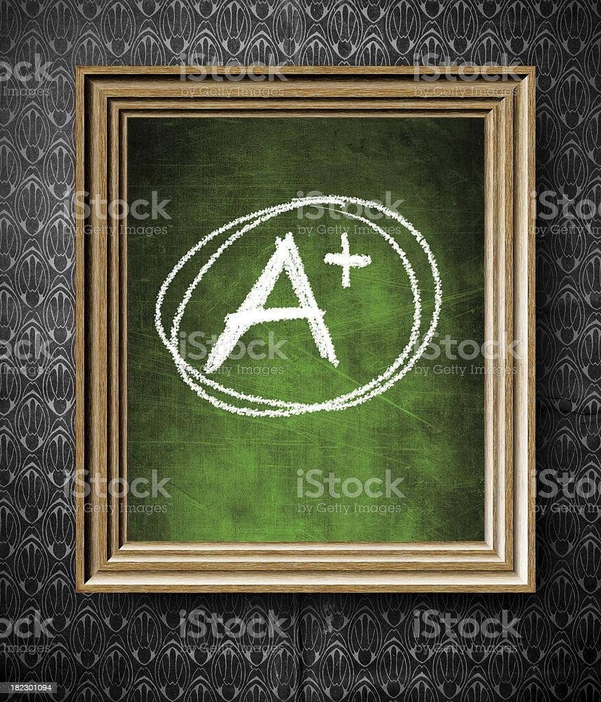 Plus grade chalkboard in old wooden frame royalty-free stock photo