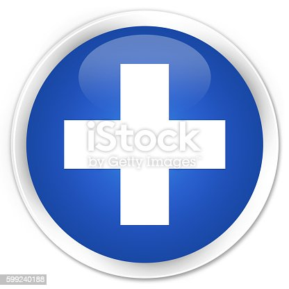 istock Plus icon blue glossy round button 599240188