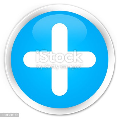 istock Plus icon cyan blue glossy round button 613338118