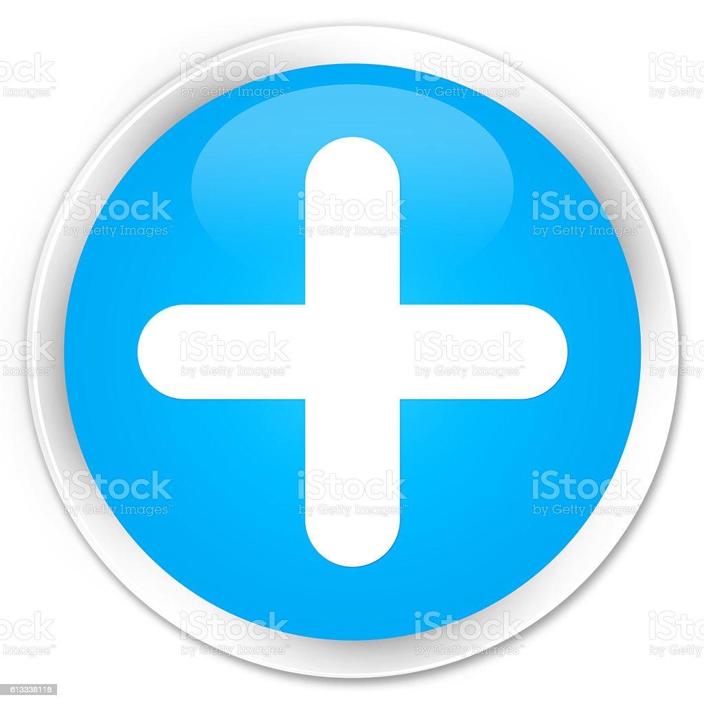 Plus icon cyan blue glossy round button stock photo