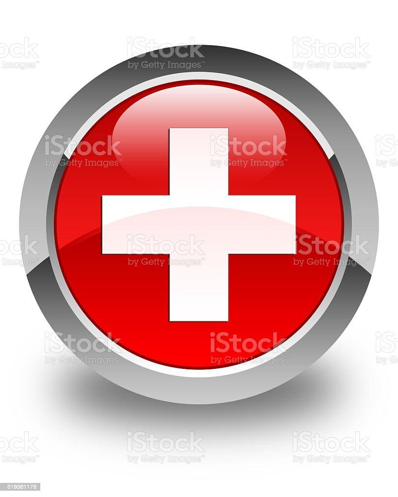Plus icon glossy red round button stock photo