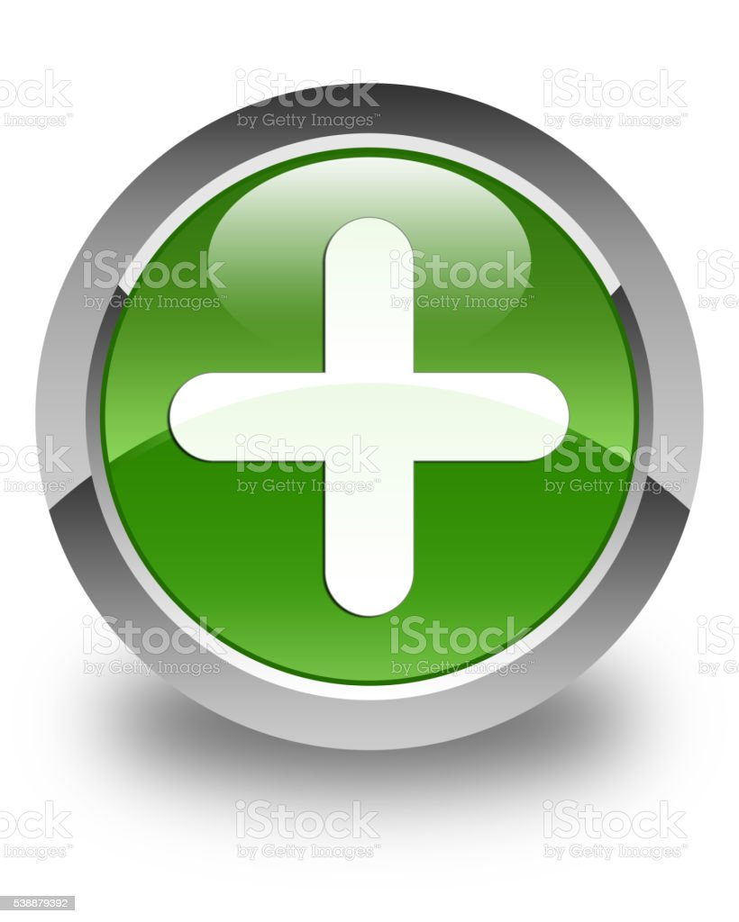 Plus icon glossy soft green round button stock photo