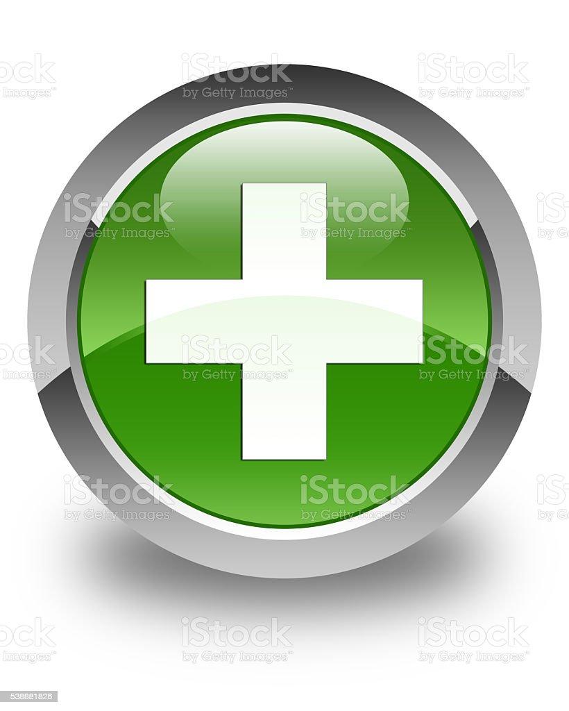 Plus icon glossy soft green round button stock photo
